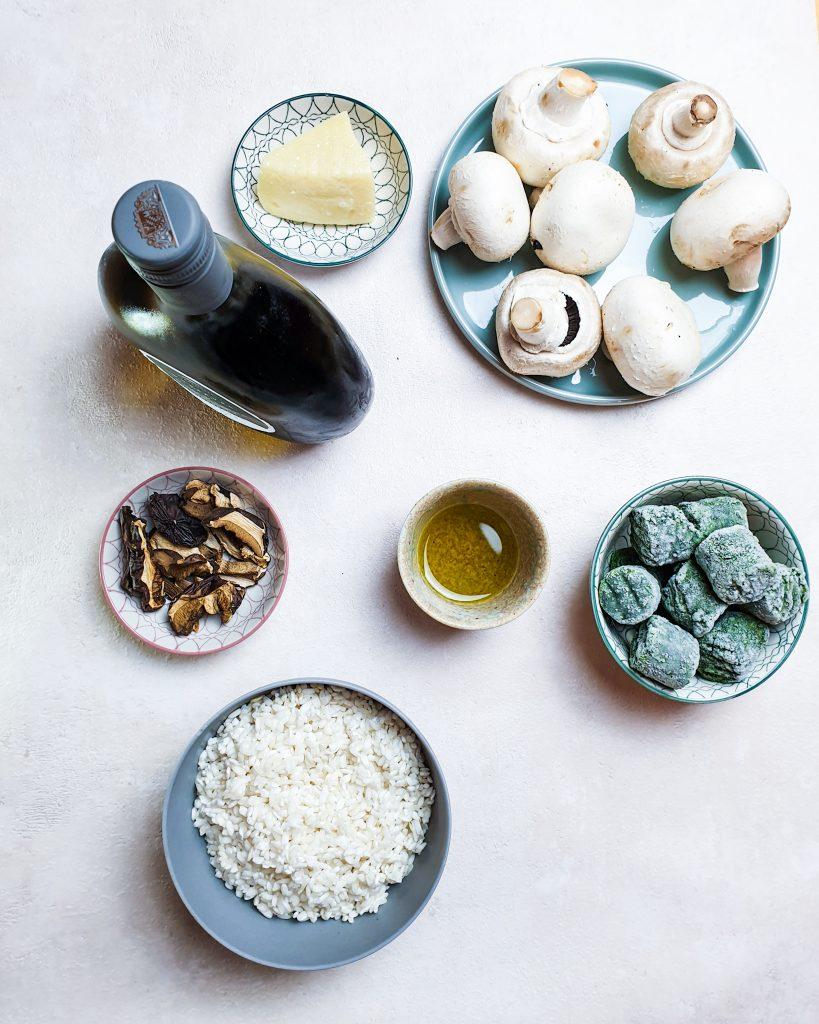 Risotto mit Champignons und Spinat